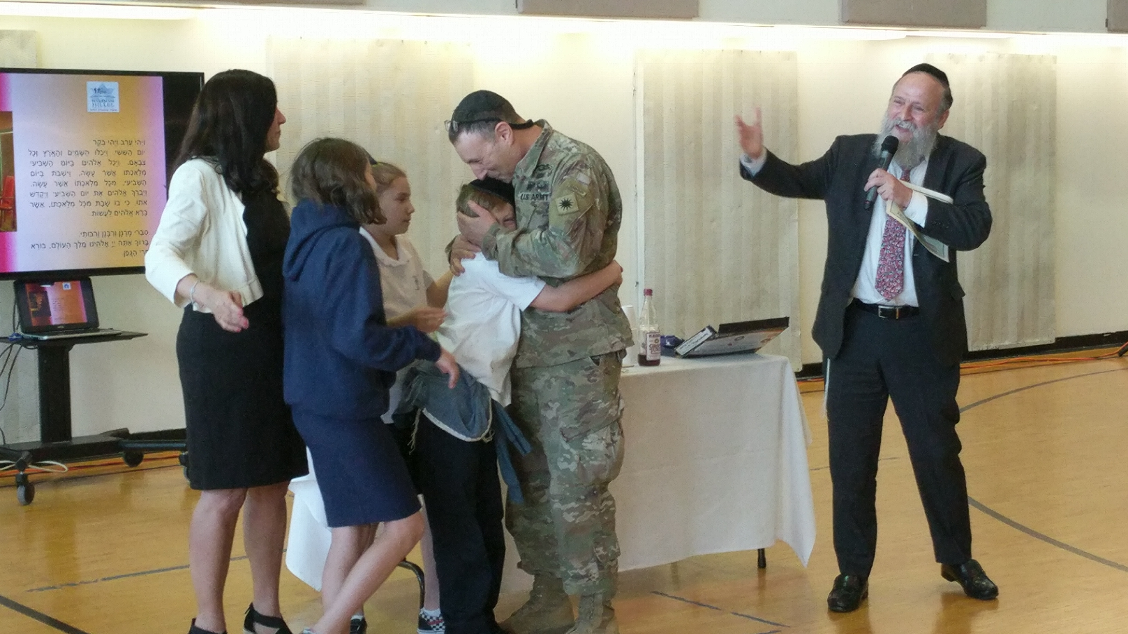 Day School Surprises Kids With U.S. Soldier's Return in Time for Purim