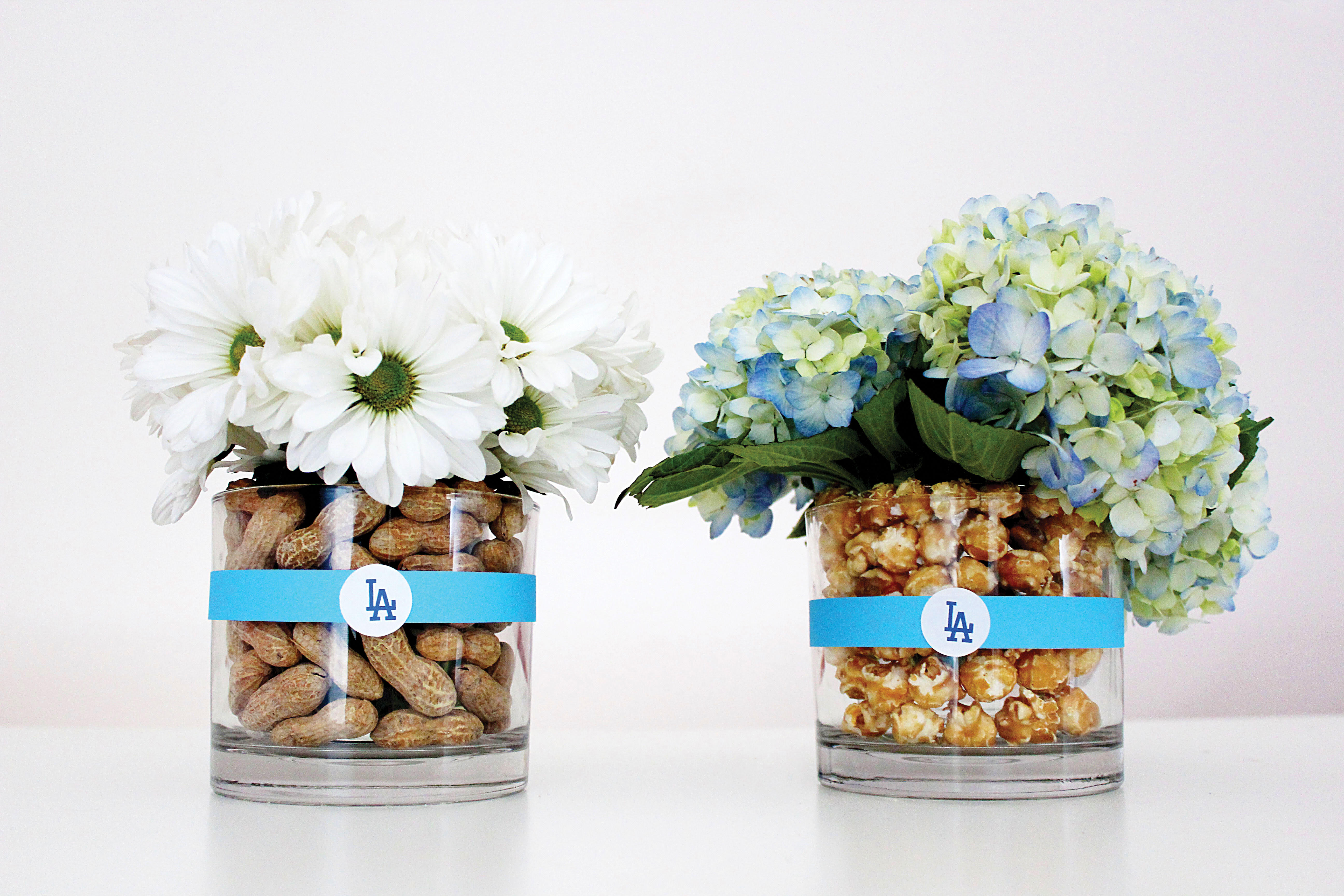 Jonathan Fong Style, Jewish Journal, Dodgers, Red Sox, World Series, floral arrangements, DIY, Blue and White